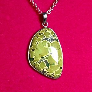 """Sterling Turquoise Pendant Necklace 18"""""""